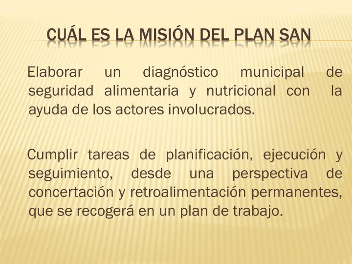 Elaborar un diagnóstico municipal de  seguridad alimentaria y nutricional con  la ayuda de los actores involucrados.