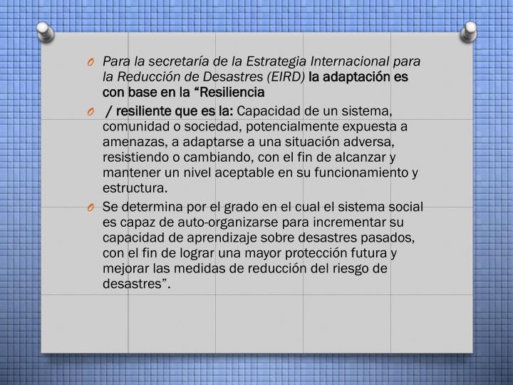 Para la secretaría de la Estrategia Internacional para la Reducción de Desastres (