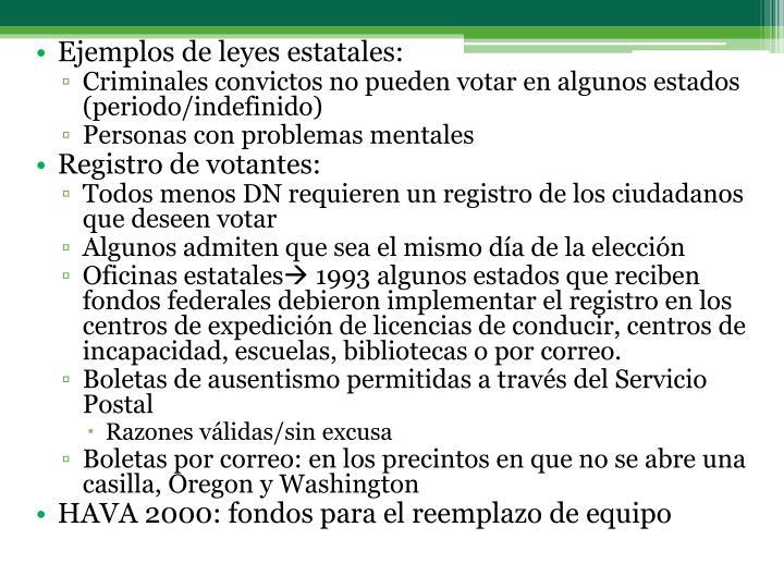 Ejemplos de leyes estatales: