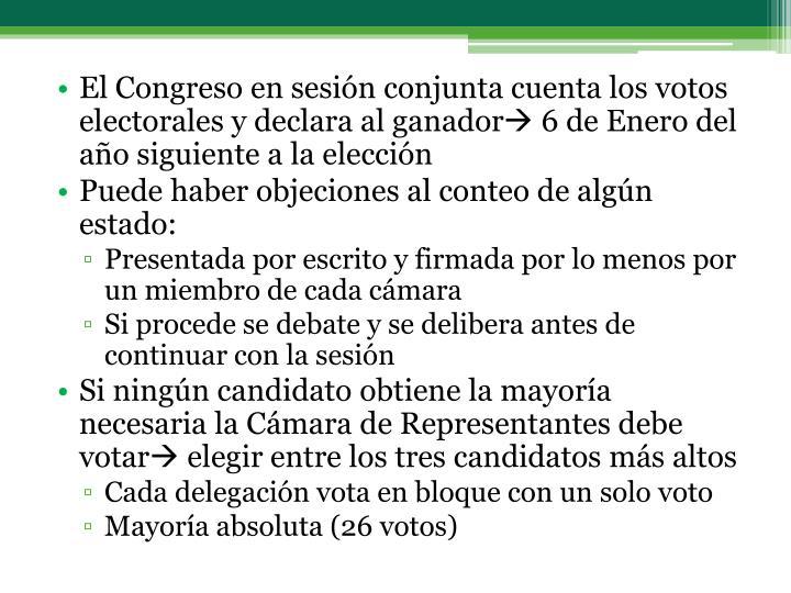 El Congreso en sesión conjunta cuenta los votos electorales y declara al ganador