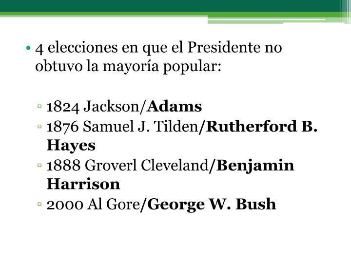 4 elecciones en que el Presidente no obtuvo la mayoría popular: