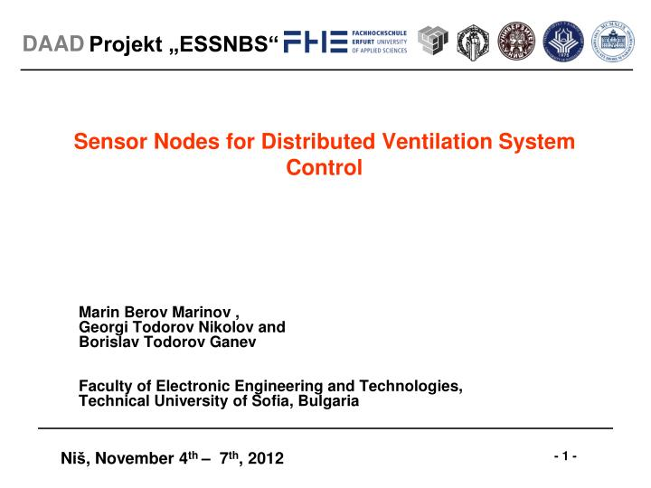 Sensor nodes for distributed ventilation system control