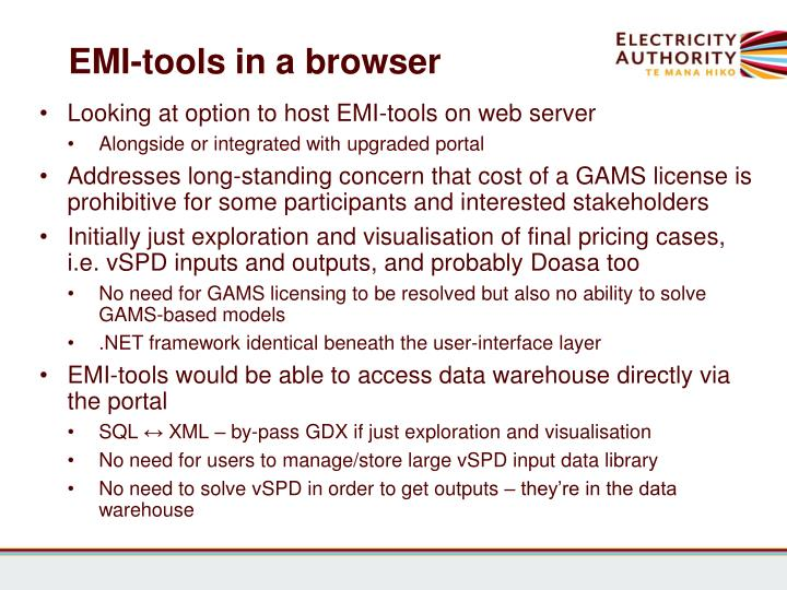 EMI-tools in a browser