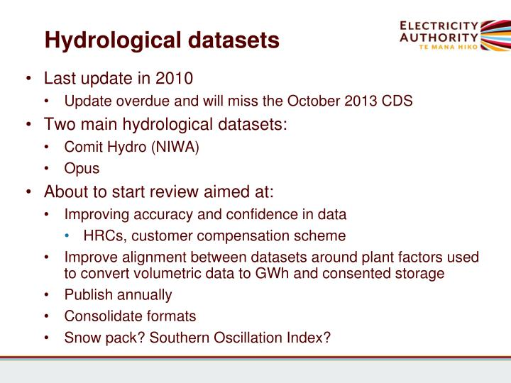 Hydrological datasets