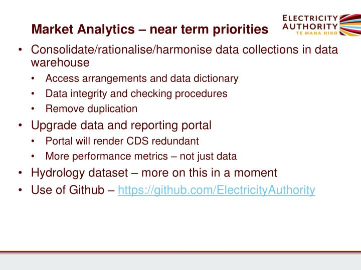 Market Analytics – near term priorities