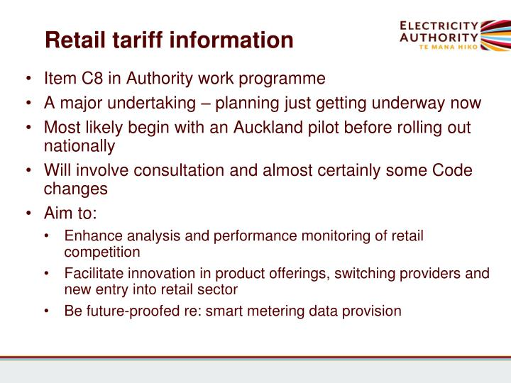 Retail tariff information
