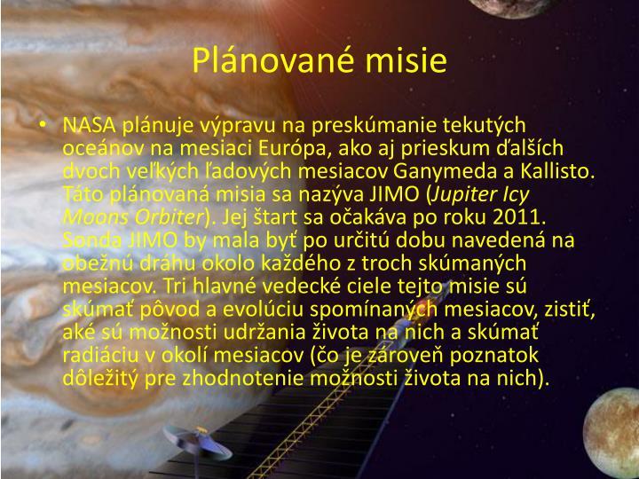 Plánované misie