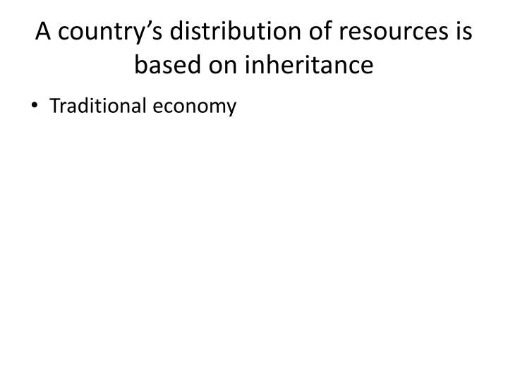 A country's distribution of resources is based on inheritance