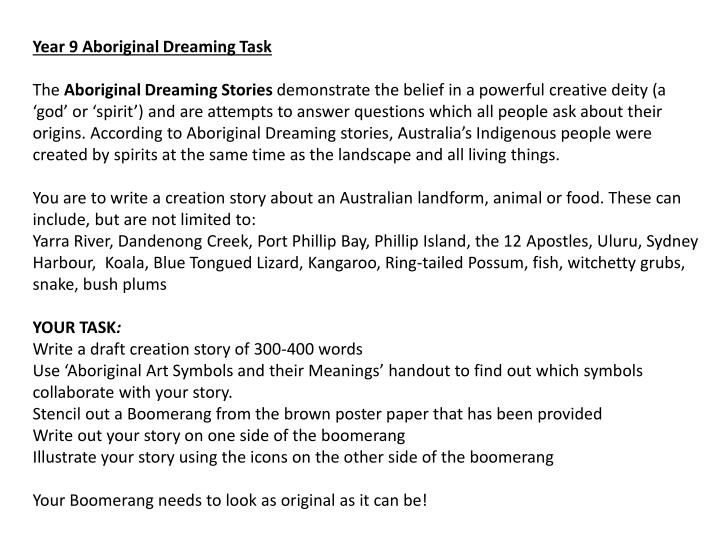 Year 9 Aboriginal Dreaming Task