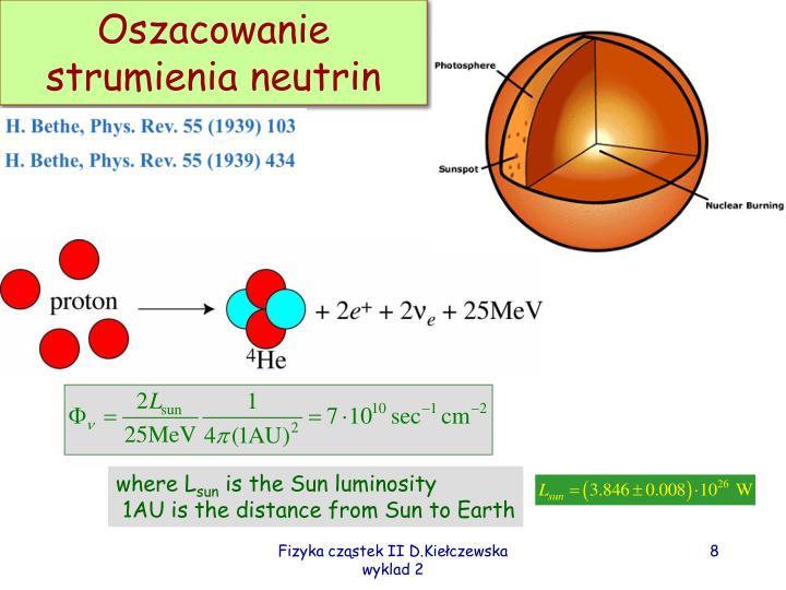 Oszacowanie strumienia neutrin