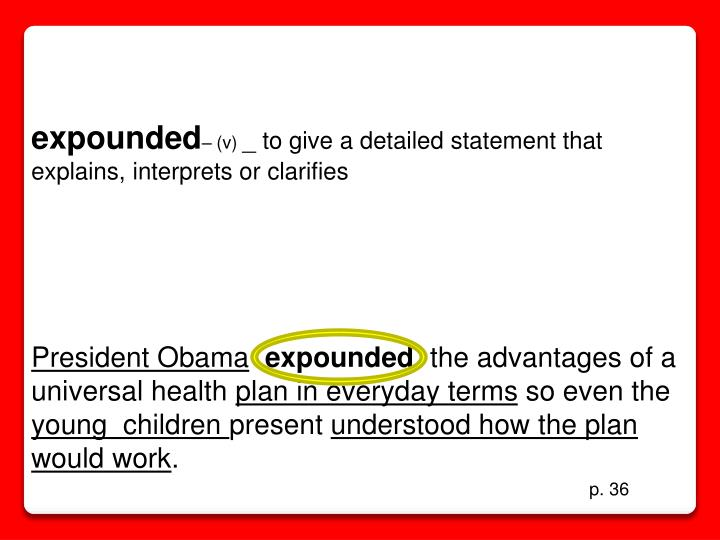expounded