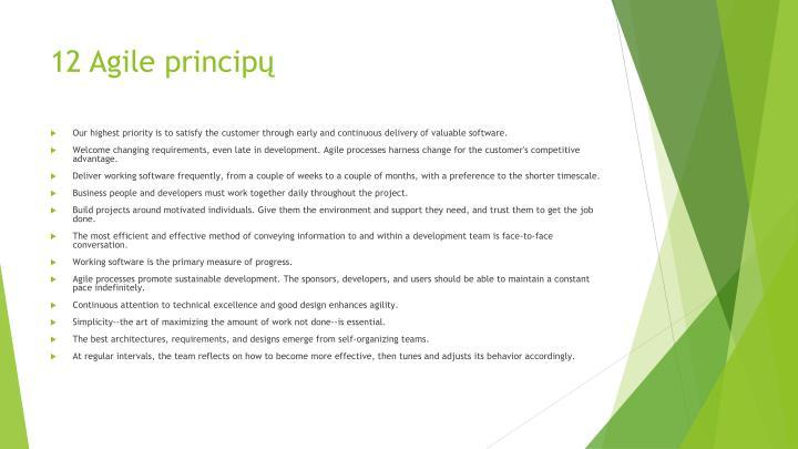 12 Agile principų