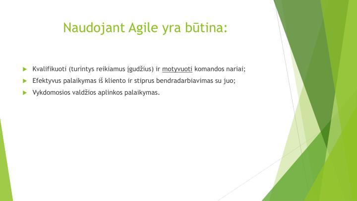 Naudojant Agile yra būtina: