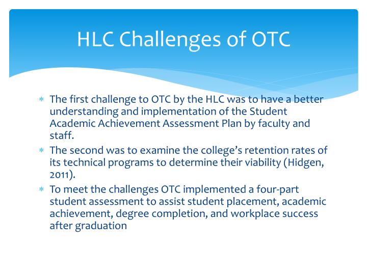 HLC Challenges of OTC