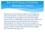 role and purpose of academic advising on campus
