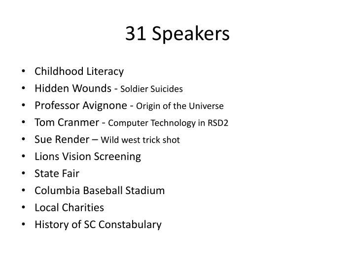 31 Speakers