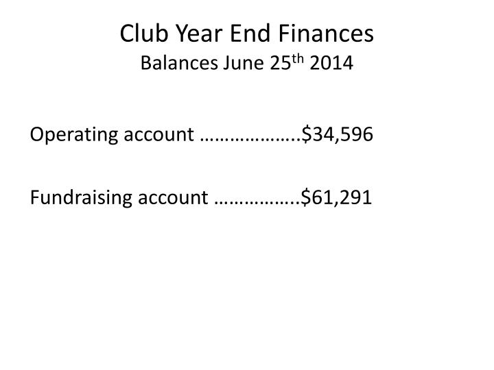 Club Year End Finances
