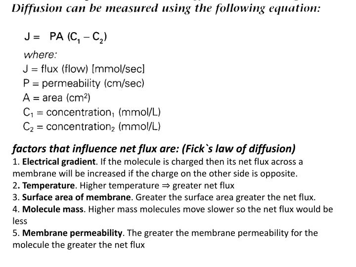 factors that influence net flux are: (