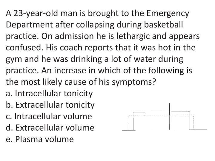 A 23-year-old man is brought to the Emergency Department after collapsing during basketball practice. On admission he is lethargic and appears confused. His coach reports that it was hot in the gym and he was drinking a lot of water during practice. An increase in which of the following is the most likely cause of his symptoms?