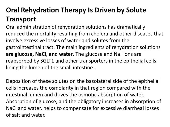 Oral Rehydration Therapy Is Driven by Solute Transport