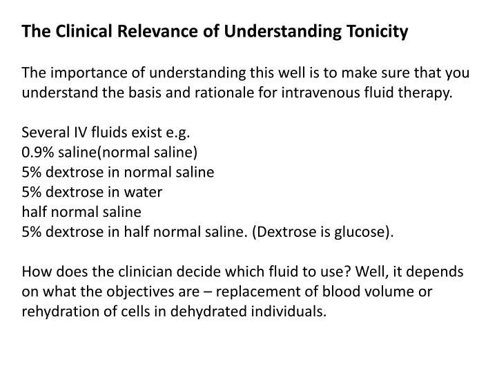 The Clinical Relevance of Understanding Tonicity