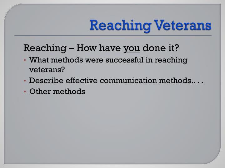 Reaching Veterans