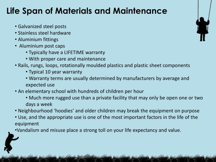 Life Span of Materials and Maintenance