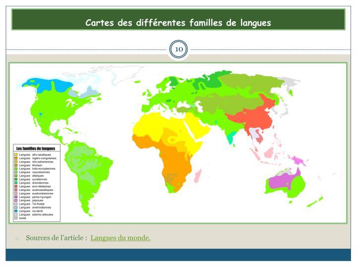 Cartes des diffrentes familles de langues