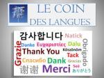 le coin des langues