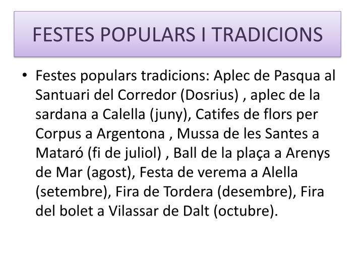 FESTES POPULARS I TRADICIONS