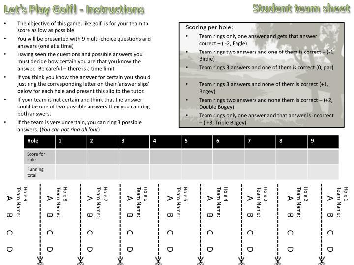 Student team sheet