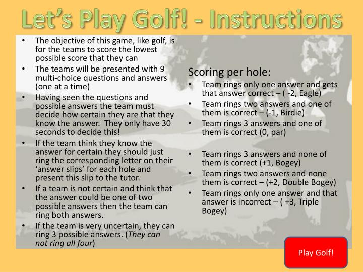 Let's Play Golf! -