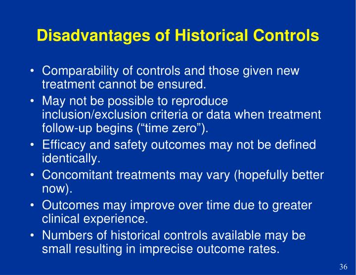 Disadvantages of Historical Controls