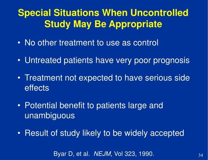 Special Situations When Uncontrolled Study May Be Appropriate