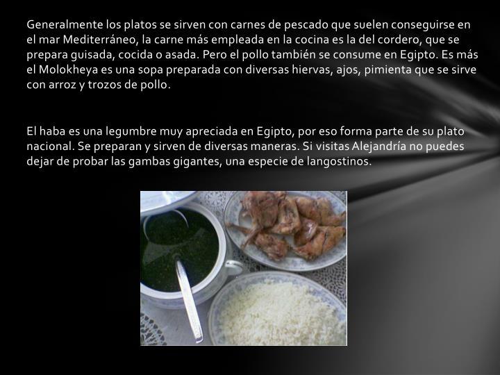 Generalmente los platos se sirven con carnes de pescado que suelen conseguirse en el mar Mediterráneo, la carne más empleada en la cocina es la del cordero, que se prepara guisada, cocida o asada. Pero el pollo también se consume en Egipto. Es más elMolokheyaes una sopa preparada con diversas hiervas, ajos, pimienta que se sirve con arroz y trozos de pollo