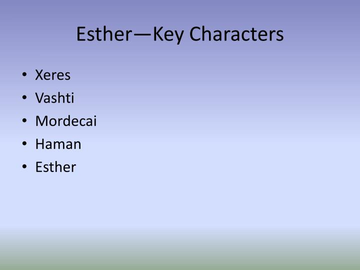 Esther—Key Characters