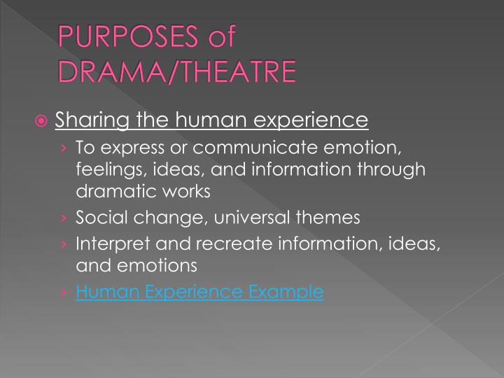 PURPOSES of DRAMA/THEATRE