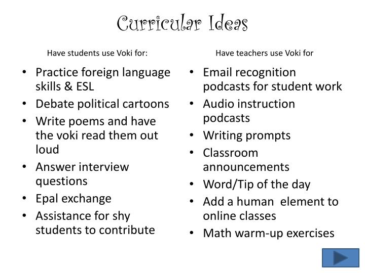 Curricular Ideas