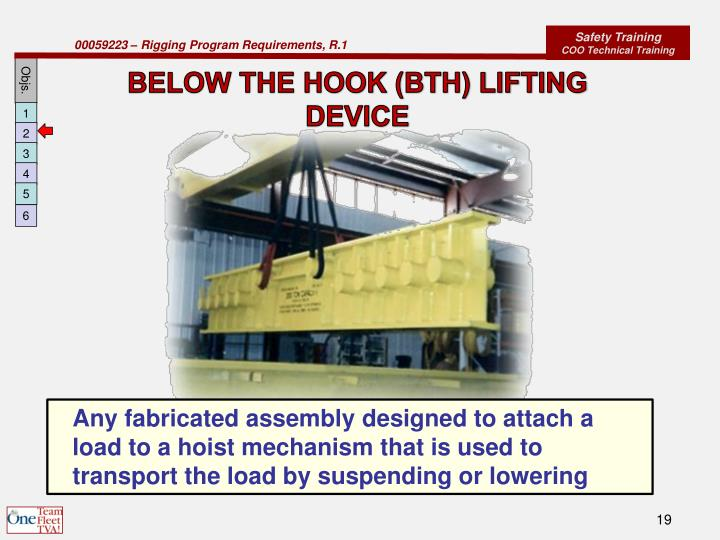 BELOW THE HOOK (BTH) LIFTING DEVICE