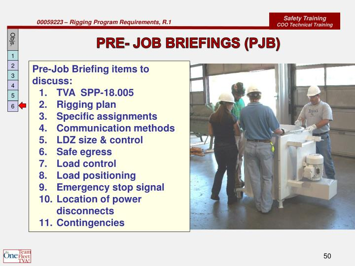 PRE- JOB BRIEFINGS (PJB)