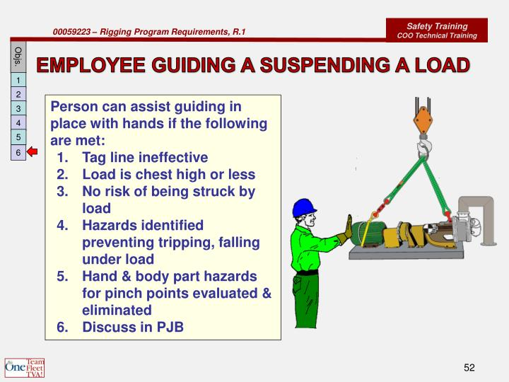 EMPLOYEE GUIDING A SUSPENDING A LOAD