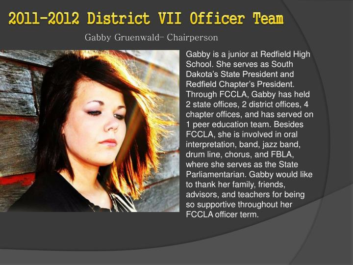 2011-2012 District VII Officer Team