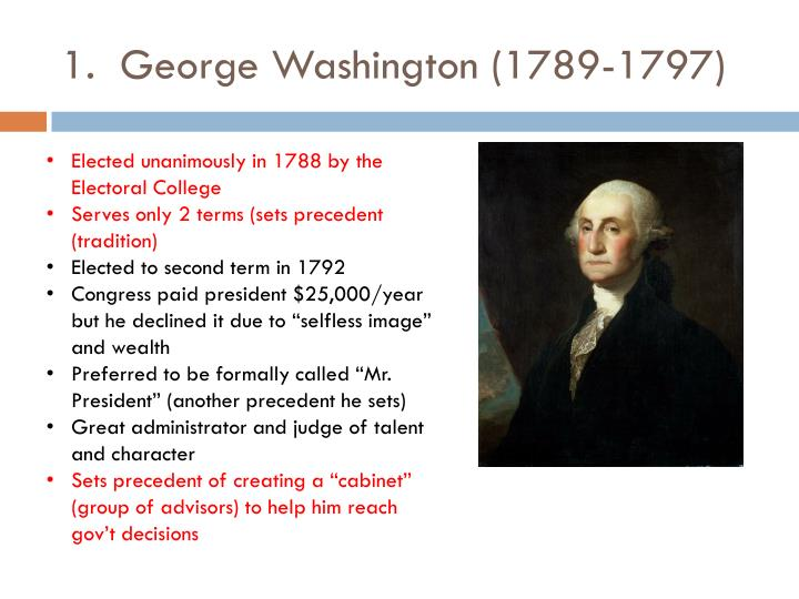 1.  George Washington (1789-1797)