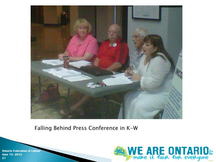 Falling Behind Press Conference in K-W