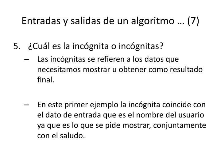Entradas y salidas de un algoritmo … (7)