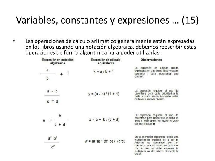 Variables, constantes y expresiones … (15)