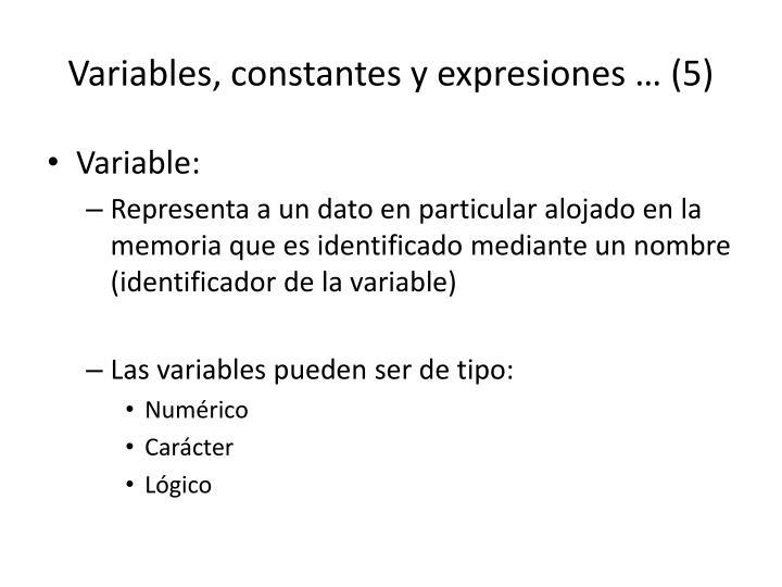 Variables, constantes y expresiones … (5)