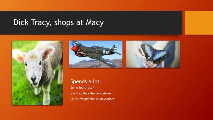 Dick Tracy, shops at Macy