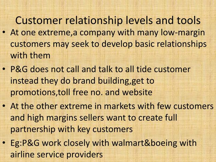 Customer relationship levels and tools