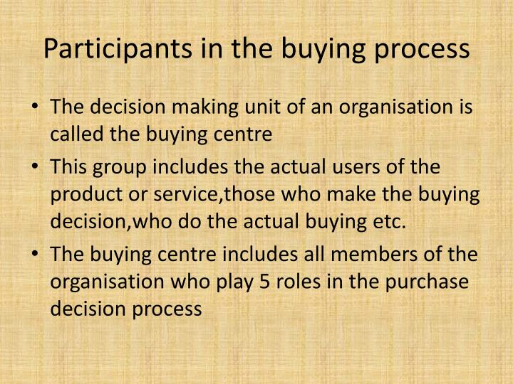 Participants in the buying process